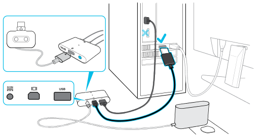 Connecting the headset to your computer