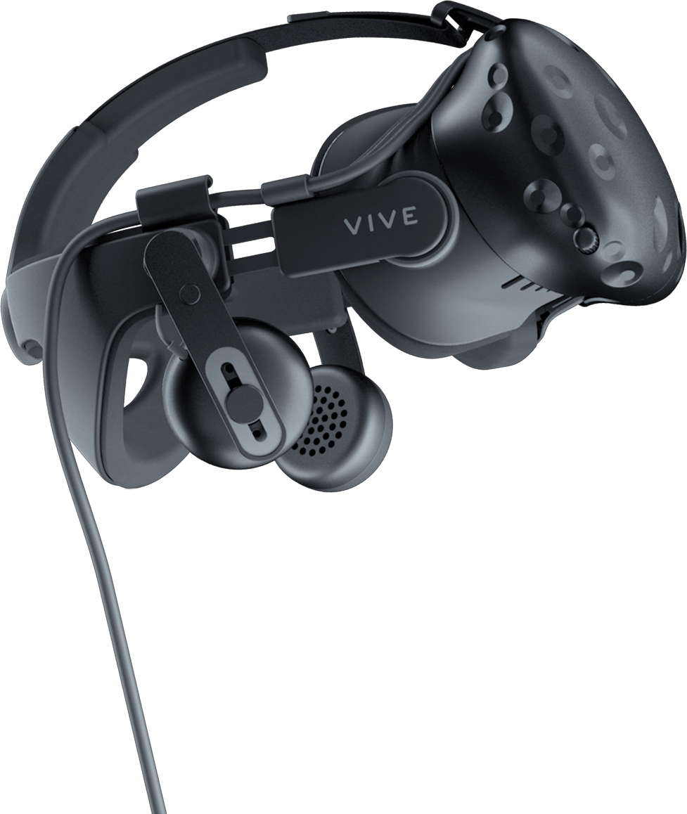 VIVE deluxe audio strap with VIVE VR headset.