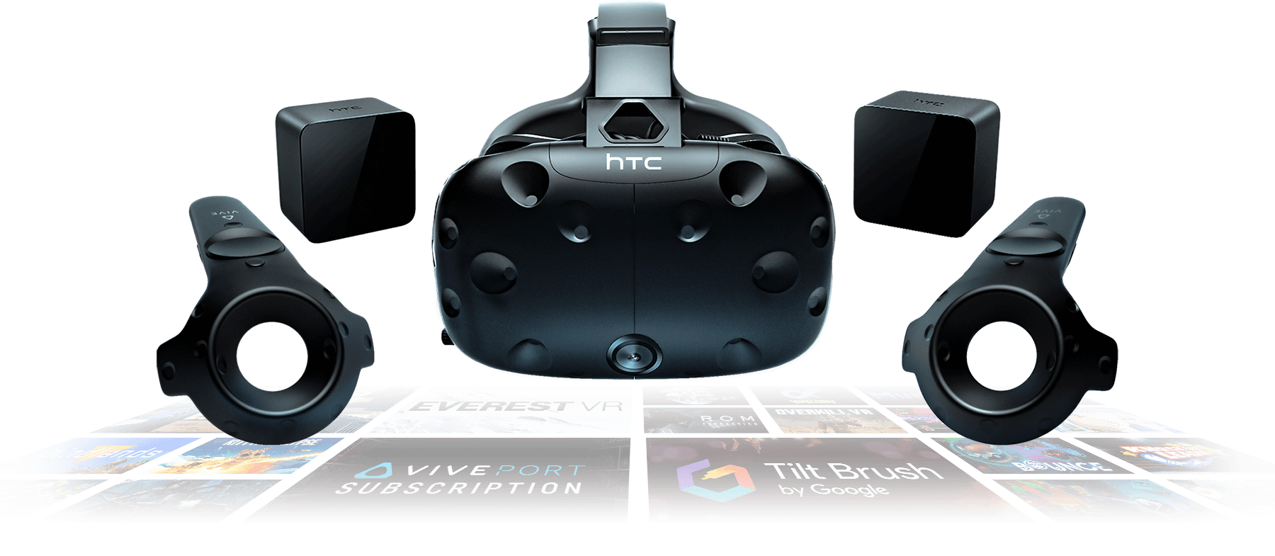 Image of the HTC Vive headset, surround by two base stations on the top and two motion controllers on the bottom